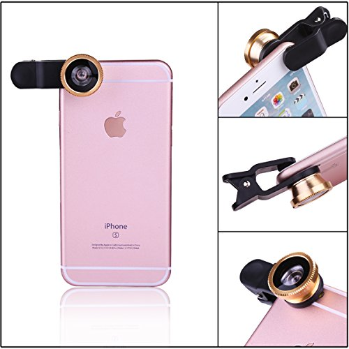 0.67X Wide Angle+ 10X Macro Lens+ Universal Clip for iPhone7 7s 6 6s plus 5 5s 5c 4s ipad Samsung HTC Android Gold 180/°Fish Eye Lens eHizon Universal 3 in 1 Cell Phone Camera Lens Kit