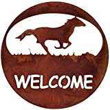 7055 Inc Southwest Horse Welcome Circle Metal Wall Sign, Natural Rust Patina