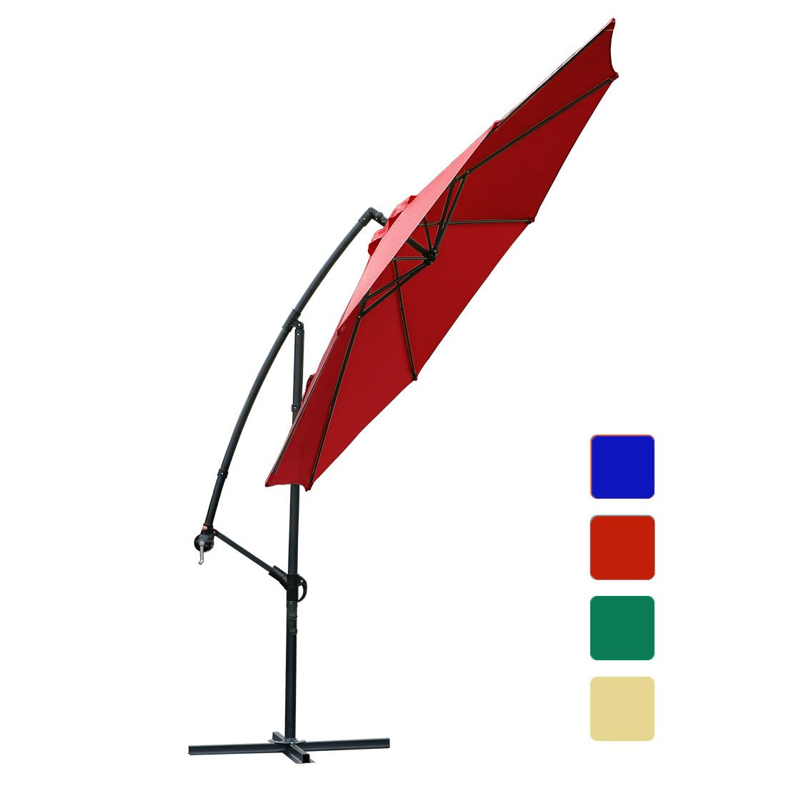 10 ft offset cantilever patio umbrella outdoor market hanging umbrellas & cranks with cross base, 8 ribs (10 ft, Red) by FARLAND