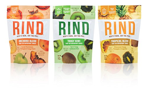 RIND Snacks Peel-Powered Dried Superfruit Variety Pack, Tropical Blend, Orchard Blend, and Kiwi, No Sulfites, No Added Sugar, High Fiber, Antioxidant-Rich, Non-GMO, Gluten-Free, Vegan, 3oz, Pack of 3
