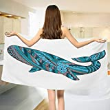 Modern,Bath Towel,Humpback Whale Figure by Ethnic Abstract Sea Underwater Artwork Print,Bathroom Towels,Teal Blue Dried Rose Size: W 27.5'' x L 55''