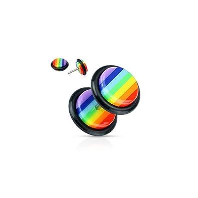 Falso piercing dilatador, acero y acrílico, diseño de arcoíris, gay ...