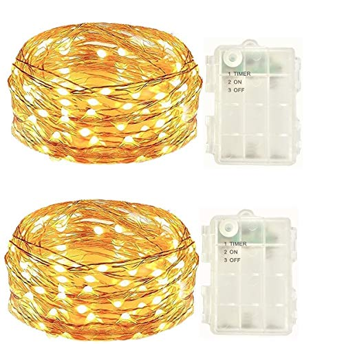 2 Pack Battery Operated Led String Lights,Mini Led Fairy Lights with Timer 6 Hours on and 18 Hours Off for Indoor Outdoor Christmas Wedding Party Decorations,50Leds 18Ft Silver Wire (Warm White)