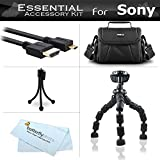 Starter Accessories Kit For The Sony HDR-AS30V, HDR-AS10, HDR-AS15 Action Video Camera Includes Deluxe Carrying Case + 12 Flexible Tripod + Micro HDMI Cable + Mini TableTop Tripod + MicroFiber Cleaning Cloth