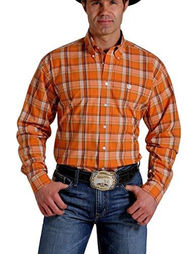[Cinch Men's Orange Plaid Western Shirt (Medium)] (Orange Plaid Western Shirt)