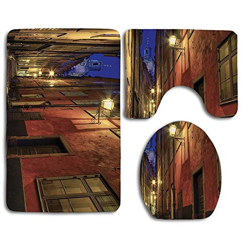 Light Bath Stockholm 3 - EnmindonglJHO at Night in The Alley in Old Town Stockholm Church Tower Darkness Ancient Image Pattern Bath Mat Bathroom Carpet Rug Non-Slip 3 Piece Toilet Mat Sets