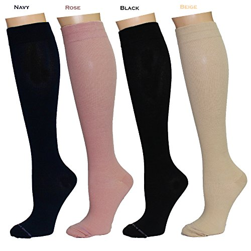 - 4 Pairs Women's Graduated Support Anti-Fatigue 8-15mmHg Combed Cotton Compression Socks (4W8-Solid #1)