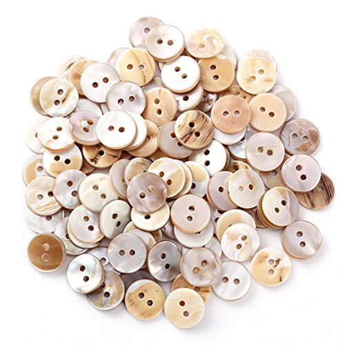 Surepromise Job Lot 100 Cream Off White Real Mother of Pearl Shell Buttons 13mm Tiny & Sweet