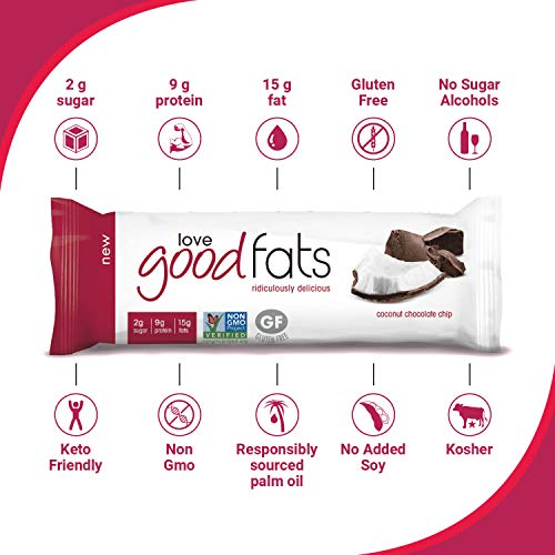 Love Good Fats Bars – Coconut Chocolate Chip – Keto-Friendly Protein Bar with Natural Ingredients – Low Sugar, Low Carb, Non GMO, Gluten & Soy Free Snacks for Ketogenic Diets – (12 Count) 4
