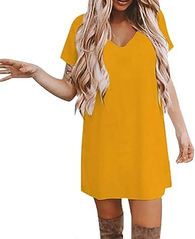 VEMOW Falda Larga Mujer Vestido de Verano Casual con Cuello en V y ...