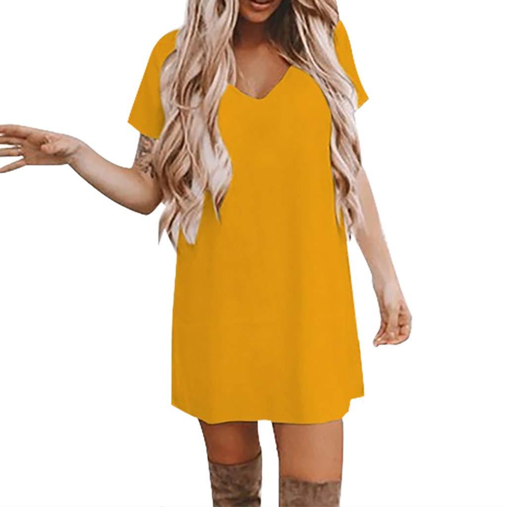 TOPKEAL Mini Vestido de Manga Corta, Vestido de Color Sólido con ...