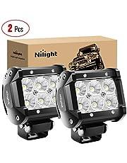 "Nilight NI2 Led Light Bar 2PCS 18w 4"" Flood Driving Fog Light Off Road Lights Boat Lights Driving Lights Led Work Light SUV Jeep Lamp,2 Years Warranty"