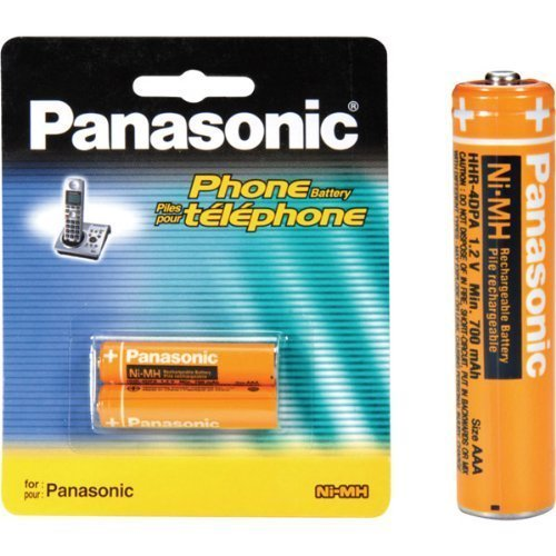 Panasonic (HHR-4DPA/2B) 2-Pack Cordless Phone NiMH 700 mAh Rechargeable AAA Replacement Battery for KX-TG1032, KX-TG1033, KX-TG1034, KX-TG823X Series, KX-TG63XX Series, KX-TG93XX Series, KX-TG43XX Ser...
