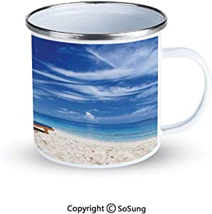 Seaside Sportsmans Camping Enamel Travel Mug,Two Beach Chairs on the Tropical Sandy Beach Under Palm Trees Relaxing Outdoor Enamel Mug,Blue Green and Ivory