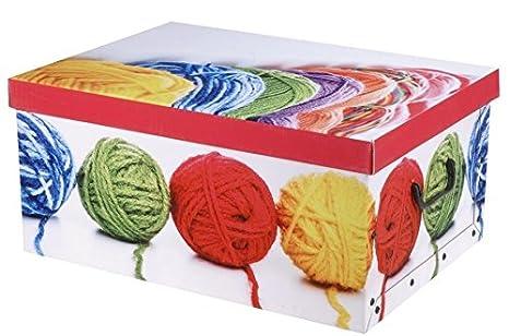 f/ür Spielzeug Karton-Aufbewahrungsboxen mit Deckel Aufbewahrungsbox f/ürs B/üro und die Schule denim ideal f/ür Zuhause 18 l