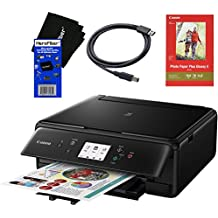 Canon PIXMA TS6020 Wireless All-in-One Compact Inkjet Printer with Print, Scan, Copy (Black) + Set of Ink Tanks + Photo Paper Sample + USB Printer Cable + HeroFiber Ultra Gentle Cleaning Cloth