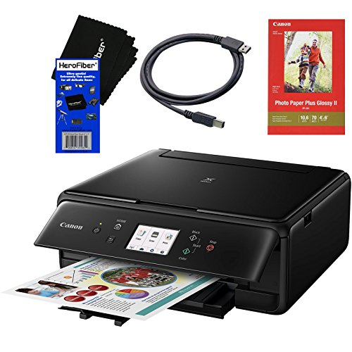 Canon PIXMA TS6020 Wireless All-in-One Compact Inkjet Printer with Print, Scan, Copy (Black) + Set of Ink Tanks + Photo Paper Sample + USB Printer Cable + HeroFiber Ultra Gentle Cleaning Cloth by HeroFiber