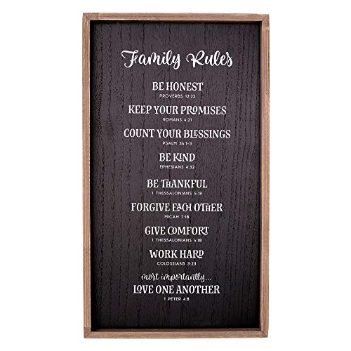 Christian Art Gifts Family Rules Wall Plaque, Scripture References