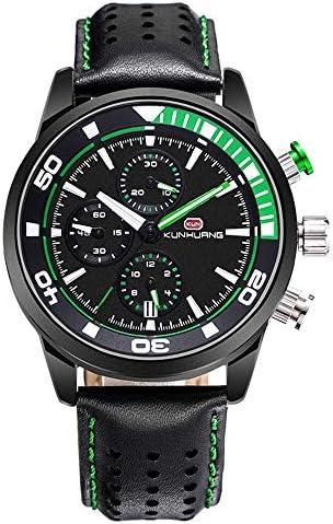 スポーツメンズ腕時計、ファッション本革クロノグラフビッグ男性男子学生リロイやつのための時計時計を、ダイヤル