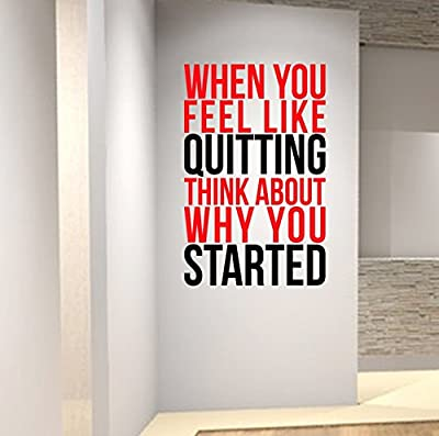 When you feel like quitting. SPORTS MOTIVATION Wall Decal Quote Gym Kettlebell Yoga Fitness.