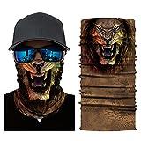 Glumes Face Mask Half Sun Dust Protection|Vivid 3D Animal Tube Mask Seamless|Durable Face Mask|Bandana Skeleton Face Shield|Motorcycle Fishing Hunting Cycling Halloween Party (G)