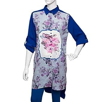 SVUP Blue Mixed Shirt Neck Shirts For Women
