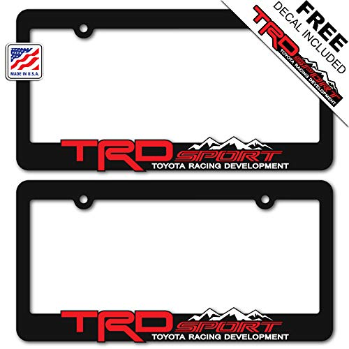 TRD SPORT (2) License Plate Frames Toyota Racing Development 3D Letter Frame Brackets (1-Pair) ()