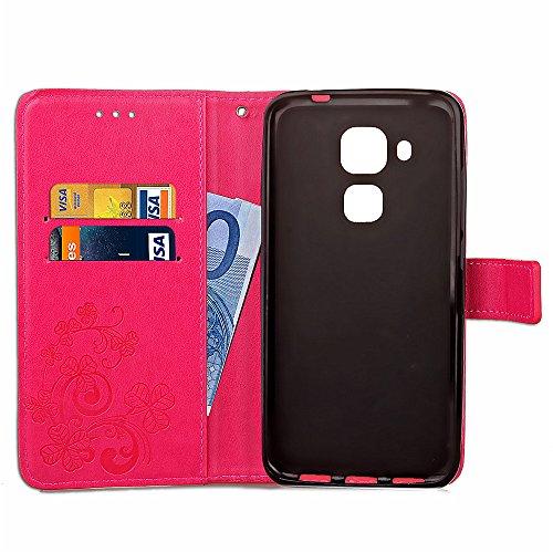 Funda para Huawei Nova Plus Huawei G9 Plus,Carcasas para Huawei Nova Plus Huawei G9 Plus,Ukayfe Funda PU Piel para Huawei Nova Plus Huawei G9 Plus,Huawei Nova Plus Huawei G9 Plus Lujo Caso,Trébol Prot Trébol:Rosa caliente