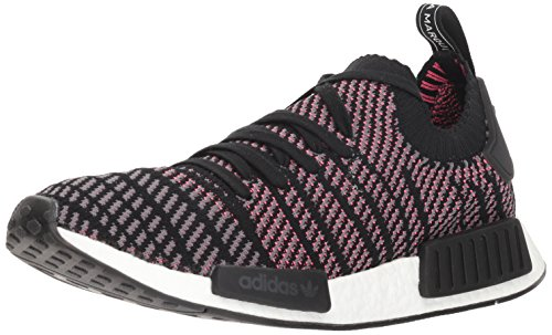 (adidas Originals Men's NMD_R1 STLT PK Running Shoe, Black/Grey/Solar Pink, 9 M US)
