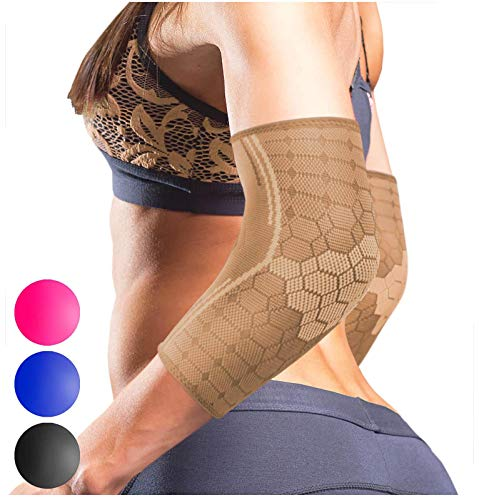 Sparthos Elbow Compression Sleeves (Pair) - Tendonitis Elbow Brace Golfer's Tennis Elbow Support for Men and Women - Arm Injury Recovery & Prevention Biceps Triceps Joint Pain Relief (Beige-M)