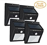Cheap HPHOPE Outdoor Solar Lights, Wireless Waterproof 20 LED Motion Sensor Solar Lights with Wide Lighting Area,Easy Install Waterproof Security Lights for Front Door, Back Yard, Driveway, Garage (4 Pack)