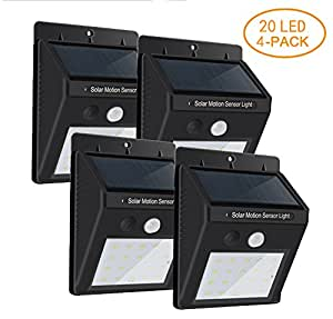HPhope Outdoor Solar Lights, Wireless Waterproof 20 LED Motion Sensor Solar Lights with Wide Lighting Area,Easy Install Waterproof Security Lights for Front Door, Back Yard, Driveway, Garage (4 Pack)