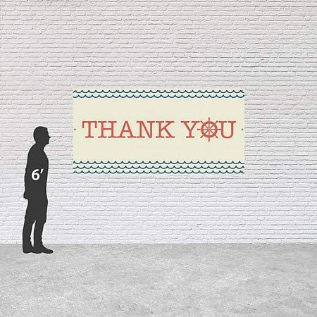 8x4 Thank You Nautical Wave Heavy-Duty Outdoor Vinyl Banner CGSignLab