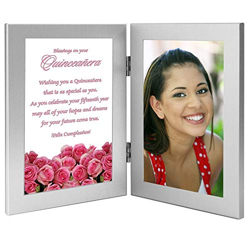 Pictures Birthday Cards - Quinceañera Gift, 15th Birthday Card in Double Frame With Sweet Saying - Add Photo