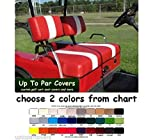 E-Z-Go Marathon Custom Golf Cart Front Seat Cover Set PLUS Rear Seat Cover Set Combo - TWO STRIPE STAPLE ON