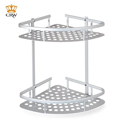 CRW Shower Corner Caddy 2-Tier Bathroom Storage Basket Shelf Anti ...