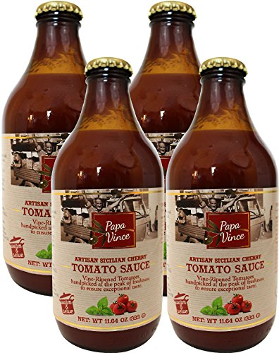 Italian Tomato Sauce No Sugar Added, Low Sodium, Low acid | from Sicily, made with vine-ripened tomatoes handpicked at the peak of freshness to ensure exceptional taste | 11.6 oz (4-Pack) - Papa Vince (Diced Tomatoes Jar compare prices)