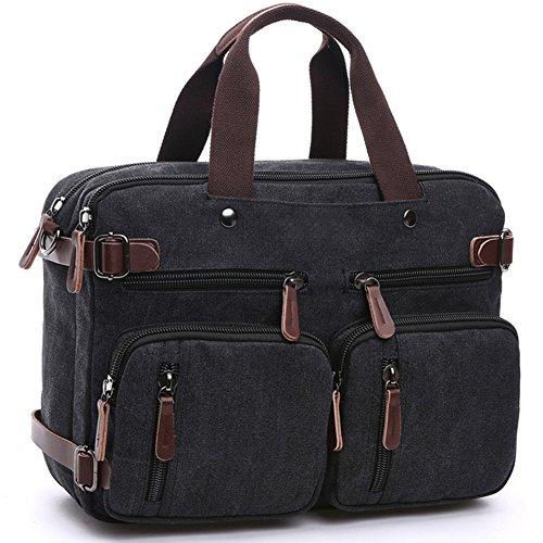 BLOOMSTAR Vintage Canvas School Backpack Laptop Shoulder Messenger Bag Business Handbag (Black)