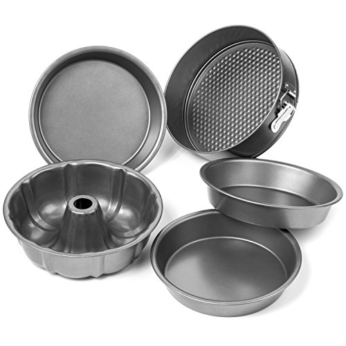 Elite Bakeware 5 Piece Nonstick Cake Pans Set with 9 Inch Round Cake Pans, 9 Inch Spring form Cake Pan and 10 In Bundt Cake Pan (German Chocolate Down Upside Cake)