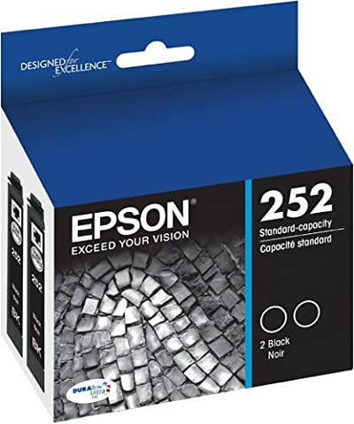 Epson T252120-D2 DURABrite Ultra Black Dual Pack Standard Capacity Cartridge Ink (Epson Ink For Wf3620)