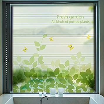 Window treatments green frosted opaque glass window film tree privacy glass stickers home decor