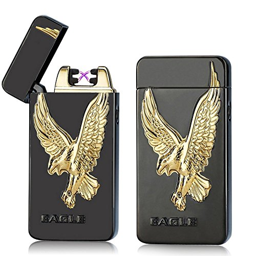 (UNISHOW® [2016 USB Rechargeable Flameless Electronic Arc Plasma Pulse Cigarette Metal Lighter in Gift Box W/a Free Velvet Pouch (Black Eagle))