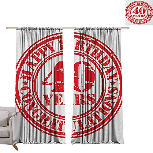 berrly Print Decorative Window Drapes 40th Birthday,Dated Old Rubber Stamp with Number Forty Congratulation Message Grungy Look, Red White W96 x L108 Light Blocking Curtains ()