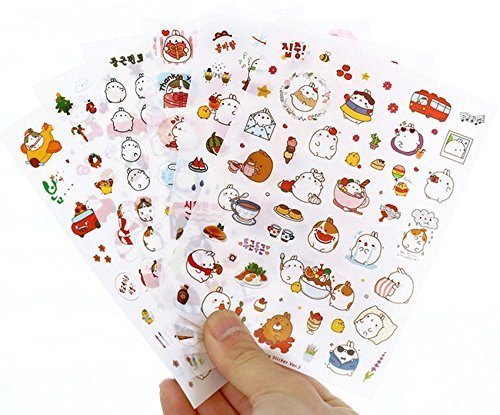 Inovat Cute Molang Rabbit Bunny Rabbit Charactor Sticker Diary Scrap Book Scrapbooking Decor Decoration 6 Sheets Lot Korean Stationery, Version 3rd Bunny Rabbit Stickers