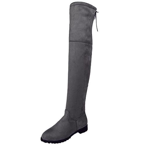Botas altas para mujer Botas de tobillo de mujer Hebilla Delgado Alto Sobre la rodilla Recortar