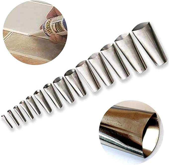 Perfect Caulking Finisher Kit,Including 14Pcs Caulk Nozzle Applicator,Reusable Caulking Finishing Tool,Stainless Steel Sealant Caulking Tool Kit for Kitchen Bathroom Window