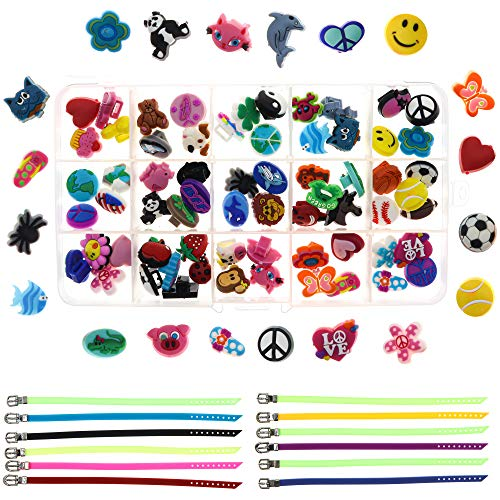 Easy Bracelet Making Kit for Girls - Cute Charm Bracelet Kit for Kids - DIY Craft Kit with 60 Slider Charms and 12 Adjustable Silicone Bracelets - Jewelry Making for Girls - Cute Stocking Stuffer