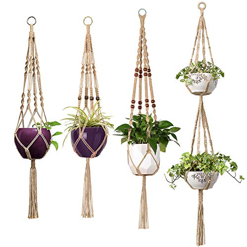 - Mkono 4 Pcs Macrame Plant Hangers Indoor Outdoor Hanging Planter Basket Jute Rope Flower Pot Holder Boho Hippie Style