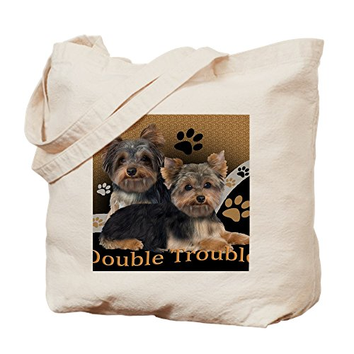 CafePress - Yorkshire Terrier Double Trouble Mousepad - Natural Canvas Tote Bag, Cloth Shopping Bag (Double Trouble Tote)