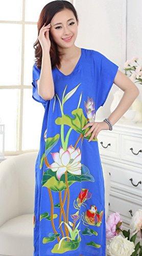 Bigood Robe de Nuit Longue Femme Coton Pyjama Lâche Peignoir Bleu Foncé